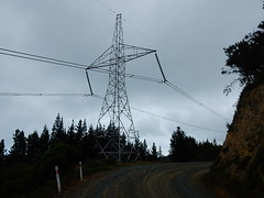 Power Bend (mikecogh) Tags: bend pylon cables electricity dirtroad distribution sentinel waikawa