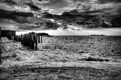 Saint-Malo (Missy Jussy) Tags: trip travel light sea sky bw sunlight holiday seascape france monochrome clouds canon landscape mono coast blackwhite brittany europe shadows horizon shoreline atmosphere saintmalo biketrip northernfrance cannon600d