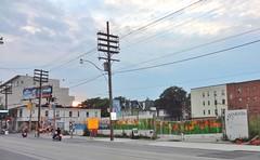 Corner of Queen St. & Woodbine Ave., Toronto (Howard258) Tags: queenstreet torontoontario queenstreeteast streetview toronto buildings thebeaches thebeach 2014