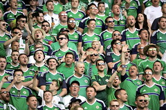 Northern Ireland Football Fans in song at The Allianz Riviera Stadium in Nice, France .. 12th June 2016. (mrvisk) Tags: our irish white men green sport june fun army women european soccer country poland crack finals wee comrades challenge supporters versus ulster craic