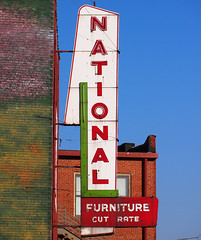 NATIONAL Cut Rate Furniture (FotoEdge) Tags: usa signs downtown neon furniture cut rusty roadtrip quay kansascity national missouri interstate kc roadside crusty kcmo missouririver rate rivermarket cutrate riverquay fotoedge
