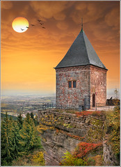Domination (Jean-Michel Priaux) Tags: sunset panorama orange sun mountain tower art history rock architecture cat photoshop landscape nikon domination guard dream medieval pointofview valley alsace fortification paysage protection plain dreamland hdr rocher vosges grès patrimoine obernai caste rêve montsainteodile stnabor d90 saintnabor patrimony klingenthal hohwald priaux superaplus aplusphoto mygearandme ringexcellence