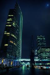 Reaching (murphyz) Tags: city longexposure urban moon london night hotel capital sickness canarywharf