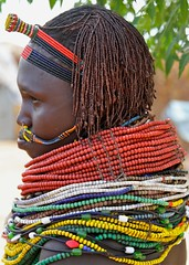 A (Nyangatom) Woman and Her Beads (**El-Len**) Tags: africa portrait woman necklace beads profile jewelry tribal unesco omovalley ethiopia tribe ethnic headband worldheritage eastafrica nosepiercing fav10 bume snnpr nyangatom southernnationsnationalitiesandpeoplesregion