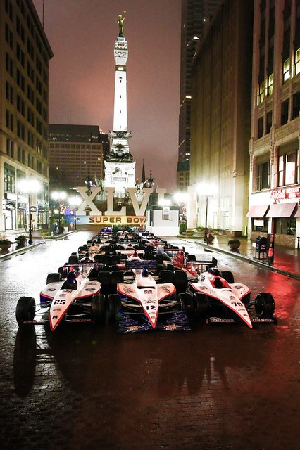 Monument Circle and Indy Cars
