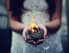 Catching Fire (AmyJanelle) Tags: inspiration bird girl hair fire photography holding hands nest lace feathers feather burning burn inspirational delicate songs birdnest symbolism songlyrics aesthetic safeandsound whitelace catchingfire thehungergames hungergames
