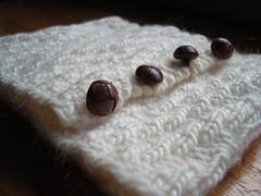 handknit neck warmer (sticklebee) Tags: wool leather vintage neck buttons handknit warmer thrifted