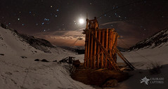 Moonlit Mountain Tram Station (Mike Berenson - Colorado Captures) Tags: sky panorama moon snow mountains boston night clouds stars snowshoe spring colorado mine andromeda alpine sirius orion moonlight taurus perseus allrightsreserved tramstation lightpaint mayflowergulch starryskies pacificpeak fletchermountain coloradocaptures copyright2012bymikeberenson nighttimesnowshoetrekabovetimberline