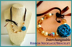 Interchangeable Ribbon Necklace Bracelet Tutorial (steph2pigs) Tags: necklace teal jewelry bracelet rosette ribbonnecklace ribbonbracelet