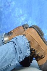 DSC_0031 (jakewolf21) Tags: work boots bondage chain jeans dakota restraints legirons