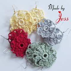 "Crochet Flower Earrings • <a style=""font-size:0.8em;"" href=""http://www.flickr.com/photos/66263733@N06/6913847817/"" target=""_blank"">View on Flickr</a>"