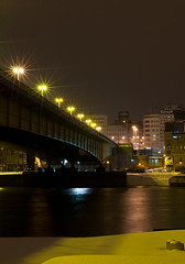 winter bridge (aleksandar1123) Tags: bridge winter snow night river belgrade february sava brankovmost