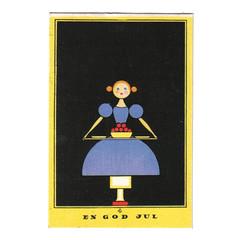 Nerman postcard - girl with tray (Wooden donkey) Tags: art illustration vintage post sweden postcard swedish card