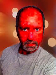 The Man Fire Guy (-Jeffrey-) Tags: red portrait art me face self artistic fantasy scifi iphone selfie mobileart photowizard iphoneart iphoneography iphoneonly