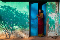 Home, Koraput (Marji Lang) Tags: ocean life voyage door travel blue light shadow woman india house tree green home colors beautiful composition colorful colours s