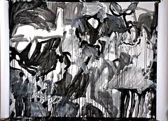 Emaki study 20120229 (mayakonakamura) Tags: abstract painting tokyo acrylic diary experiment study charcoal calligraphy nakamura mayako automaticdrawing emaki kentpaperroll