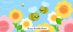 Buzzy Bumble Beans (FruityCuties) Tags: flowers summer cute insect buzz flying leaf spring wings comedy comic joke humor cartoon humour bean petal bee bumblebee kawaii nectar pollen cutiecrawlies