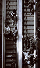 The ups and downs. (ADIDA FALLEN ANGEL) Tags: people bw outside israel telaviv nikon elevator escalator planes d40
