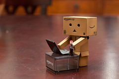 Danbo Emails Home (10/52) (vmabney) Tags: canon toys 50mm cola laptop email soda dslr danbo 52weeks revoltech danboard