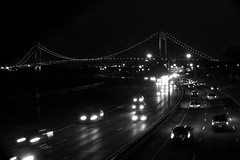 Belt Parkway Verrazano Bridge (Retrofresh!) Tags: nyc urban bw brooklyn night spring cityscape outdoor overpass distance verrazanobridge bayridge beltparkway shoreparkway bay16thst