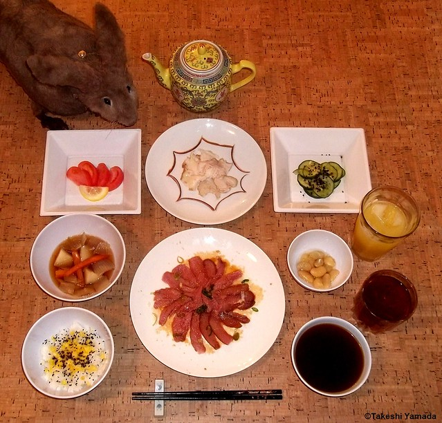 20120311 006 Seara (sea rabbit) curiosly sniffing Dr. Takeshi Yamadas dinner. Ham with Sweet Japanese Ginger & Soy Sauce. White Fat Ham and Shredded Skin. Steamed Rice with Scrambled Egg and Black Sesame Seeds. Miso Soup. Chicken & Vegetable Soup. Sliced