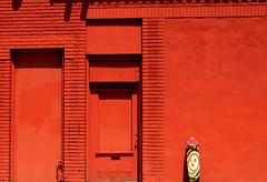 Red Wall & Skateboard (See El Photo) Tags: california ca door city red urban 15fav favorite orange color wall 510fav outside outdoors intense bright santamonica board bricks nine wheels pipe vivid 9 number doorway brickwall skate skateboard daytime westside fav westcoast redish faved