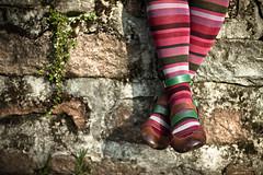 Bricks and Stripes (Matteo Allegro [www.matteoallegro.com]) Tags: woman feet colors socks wall closeup spring shoes legs bricks multicolors