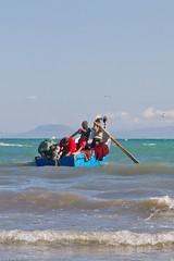 Oars out (Sue_Hutton) Tags: sea water mediterranean waves fishermen morocco maroc rowing fishingboat tangier tanger oars outboardmotor march2012