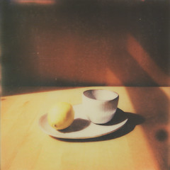 Lemon (~ Meredith ~) Tags: light shadow stilllife orange colour film sunshine yellow fruit polaroid grey lemon ceramics plate bowl glorious citrus 670af colorshade impossibleproject px680