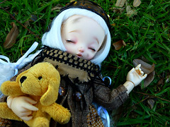 ...And Pompidou (Purple  Enma) Tags: park sleeping espaa dog up ball relax spain flora doll picnic dolls nap quiet lola tranquility meeting andalucia plushie cordoba siesta bjd fl resting resin acerola meet steampunk isy jointed ltf mombi littlefee fairylan