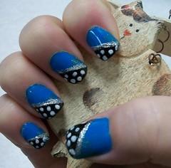 blue, black, polka dot, nail art