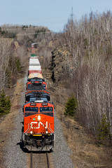CN 308 @ Saint-Joseph-de-Kamouraska (Mathieu Tremblay) Tags: new railroad canada cn train quebec railway brunswick du canadian national nouveaubrunswick bas eastern chemin fer est canadien fleuve subdivision pelletier saintpascal temiscouata