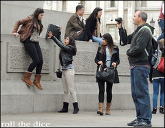 `837 (roll the dice) Tags: uk girls portrait england people sexy london art classic westminster fashion shopping asian fun japanese perception women funny pretty natural boots candid indian pigeons perspective strangers streetphotography trafalgarsquare tourists illusion cameras surprise gb unknown column trick forced mad awe reactions unaware sw1 wc2 londonist