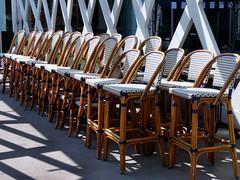 Waiting for Spring (duaneschermerhorn) Tags: urban toronto ontario canada restaurant chairs stackedchairs