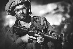 It's Been A Hard Day's Night (dR. SaM FaST) Tags: portrait people blackandwhite bw d50 soldier army israel nikon war idf