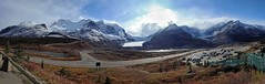 Sky Clearing in the Afternoon (l plater) Tags: canada alberta jaspernationalpark columbiaicefield athabascaglacier ptgui icefieldparkway panoramicstitch icefieldinterpretivecentre