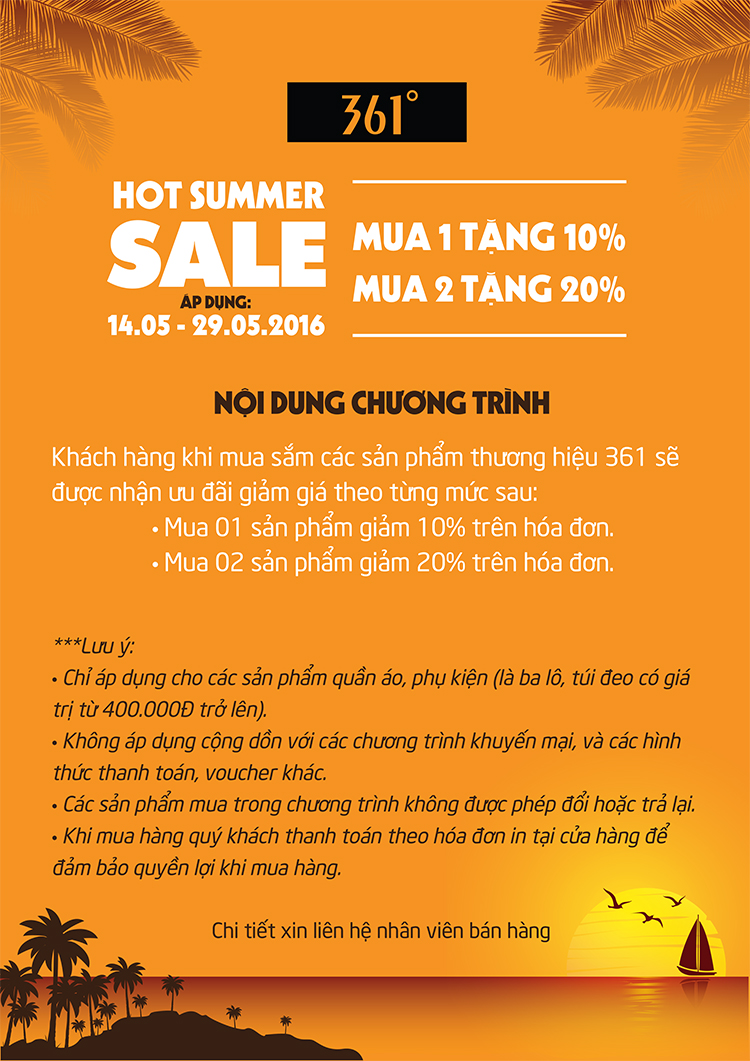 HOT SUMMER SALE - 361o KHUYẾN MẠI CHÀO HÈ