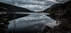 Clouds on the Loch (jasonmgabriel) Tags: panorama mountain lake reflection tree water rock clouds landscape scotland boat highlands scenery long exposure great glen hills loch lochy