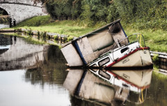 Linsey C (anthonyhepworth) Tags: reflections boat canal wreck sinking