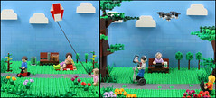 Playing in the Park 1966 vs 2016 (AzureBrick) Tags: life park modern technology lego 1966 segway society drone 2016