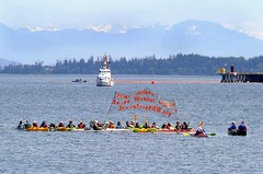 Small Break Free Raftup banner not lifted Seattle PI and associated press at Break Free PNW 2016 photo by Scott Terrell (Backbone Campaign) Tags: water justice washington energy kayak break action politics protest creative paddle shell free social demonstration oil change wa environment activism anacortes campaign pnw refinery climatechange climate tesoro artful backbone renewable refineries 2016 kayaktivist kayaktivism breakfreepnw