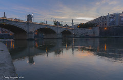 On the Banks of the Tiber, Rome. 22nd May 2016. (craigdouglassimpson) Tags: italy rome reflections rivers tiber nightscene