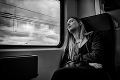 Sweet dreams (graveur8x) Tags: sweetdreams girl sleeping train clounds blackandwhite bw woman travel traveling blond frankfurt germany streetphotography candid dmccm1 lumix panasonic phone dream
