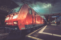 driving into the night (Steven-CH) Tags: hdr platform bombardier mountainroute db cargo gottardo eos6d canon northbound 1851203 locomotive tripletraction traxx station erstfeld uri switzerland ch