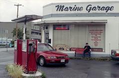 Marine Garage (Orion Alexis) Tags: auto street old canada film station analog 35mm nikon kodak garage retro gas 400 analogue fe mechanic steveston ultramax richmon