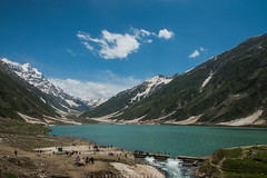 Saif Ul Muluk (imtiazchaudhry) Tags: blue sky lake snow mountains cold water clouds landscape stones glacier waters