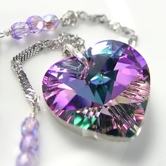 Pink Purple Heart Necklace Sterling Silver Chain Swarovski Amethyst Vitrail Crystal Heart Pendant Necklace (DorotaJewelry) Tags: necklace jewelry charm valentinesday purpleheart crystalheart heartpendant amethystheart heartnecklace purpleamethyst lavenderviolet amethystpurple pinkheartnecklace