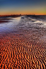 Crosby Beach (Shertila Tony) Tags: sunset england sun golden lowlight sand europe britain vista ripples distance hdr crosby merseyside sefton anotherplace 100commentgroup flickraward mygearandme strandhdr