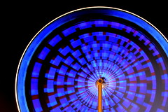 it's showtime! (redglobe*) Tags: blue light abstract colour bulb night germany licht nikon roundabout carousel timeexposure lux karussell mnster carrusel lumen sendmnster d5100