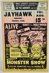Monster Show Poster (toyranch) Tags: from black film movie poster theater notice ks lagoon advertisement cardboard frankenstein 1950s kansas alive mummy topeka creature jayhawk the